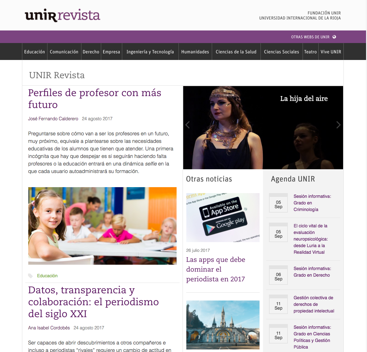 Portada digital de UNIR Revista.