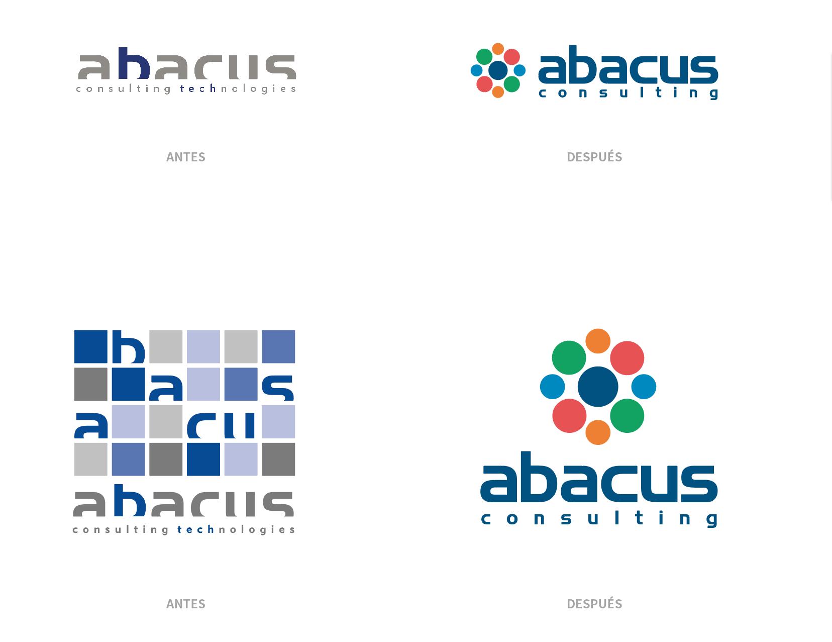 Logotipo de Abacus Consulting Technologies, antes y después de su rediseño.