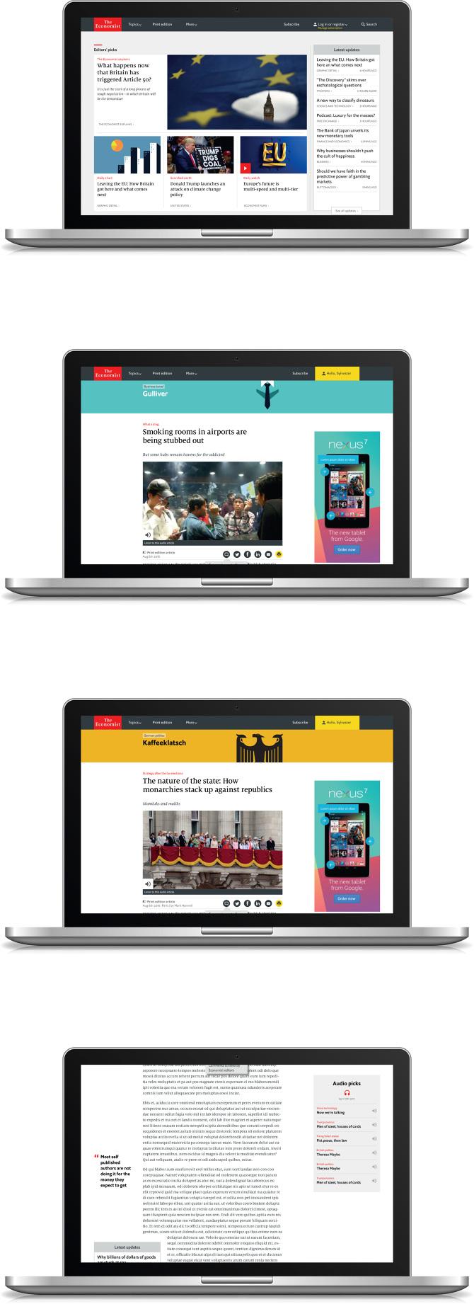 Rediseño de Economist.com, Stephen Petch , diseño y dirección de arte.